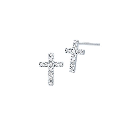 - 10k White Gold Diamond Cross Stud Earrings
