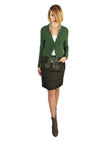 """Trachtenrock von Trachtenamazonen aus feinstem Leder, Modell """"Achensee"""" aus der Couture-Line in torf-farbigem Ziegenveloursleder mit tannengrüner Vollbestickung"""