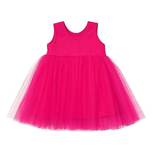 (Baby Girls Black Dress Tutu Long Sleeves Ruffle Tulle 6-48m (9-12 Months, Rose Short))