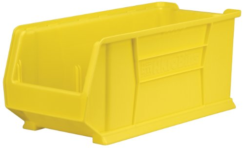 Akro-Mils 30292 30-Inch D by 11-Inch W by 10-Inch H Super Size Plastic Stacking Storage Akro Bin, Yellow, Case of 4 by Akro-Mils