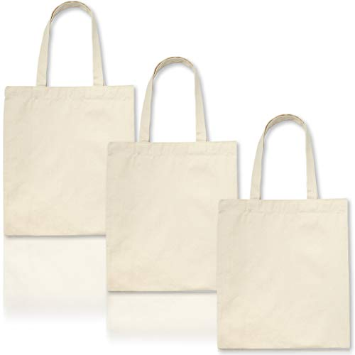 Juvale 6-Pack Plain Blank Canvas Tote Bags for DIY Crafts, Painting 12.5 x 14.5 Inches