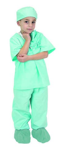 [Aeromax Green Junior Doctor Scrubs (Child 8-10)] (Mad Scientist Costumes For Kids)