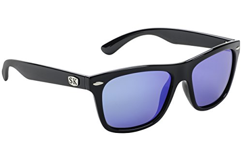 (Strike King Plus Cash Polarized Sunglasses, Shiny Black Frame/Blue Mirror Gray Base Lens)
