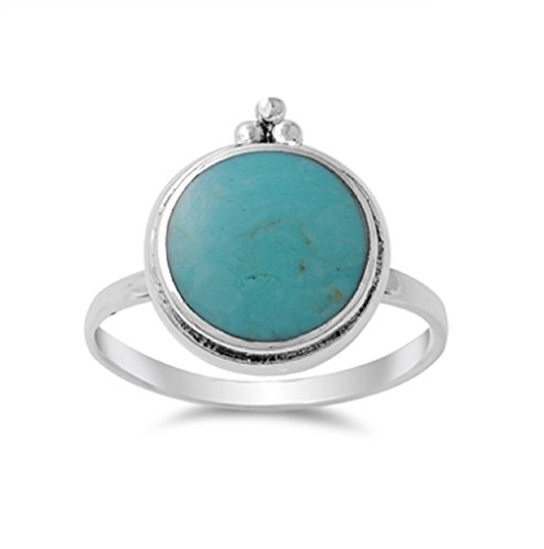 Giant Round Simulated Turquoise Stone Ring Sterling Silver 925 Size 6