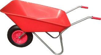 WHEELBARROW 85 LITRE RED PLASTIC PAN MADE IN UK MATADOR