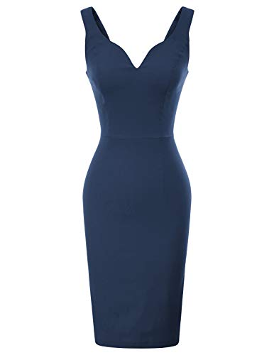 - GRACE KARIN Women's Sexy Sleeveless Cocktail Party Clubwear Pencil Dresses S Navy Blue