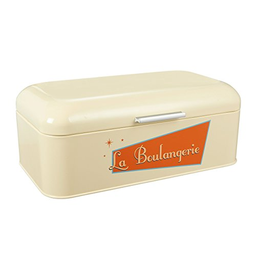 Bread Box for Kitchen - Stainless Steel Bread Bin Bread Box Vintage Storage Container For Loaves, Pastries, and More, Cream, 16.75 x 9 x 6.5 Inches