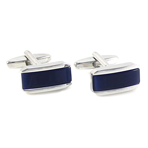 MENDEPOT Classic Rhodium Plated Rectangle Navy Cats Eye Cufflinks with Box (Navy)