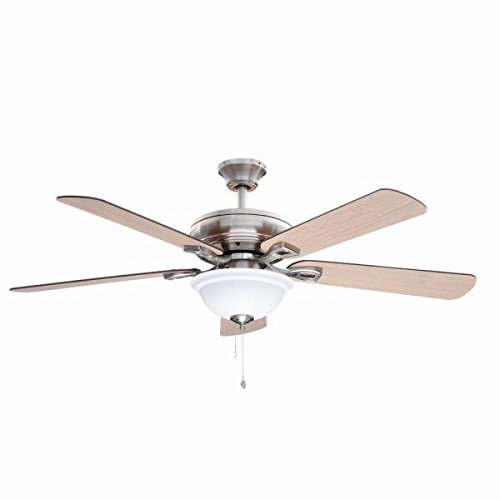 Hampton Bay Rothley 52 in. Indoor Brushed Nickel Ceiling Fan with Shatter Resistant Light Shade ()