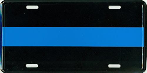 Thin Blue Line Metal License Plate – 6x12 inch Black and Blue Auto Tag for Cars and Trucks - in Support of Police and Law Enforcement Officers ()