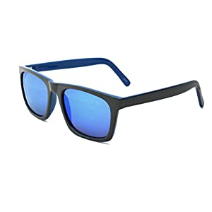 Zoo York Men's Square Sunglasses, Blue Frame, Dark Blue Mirror Lens, 53mm