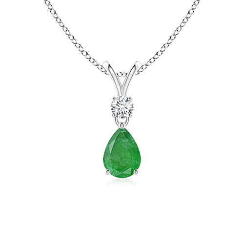 Pear-Shaped Emerald V-Bale Pendant in 14K White Gold (7x5mm Emerald)