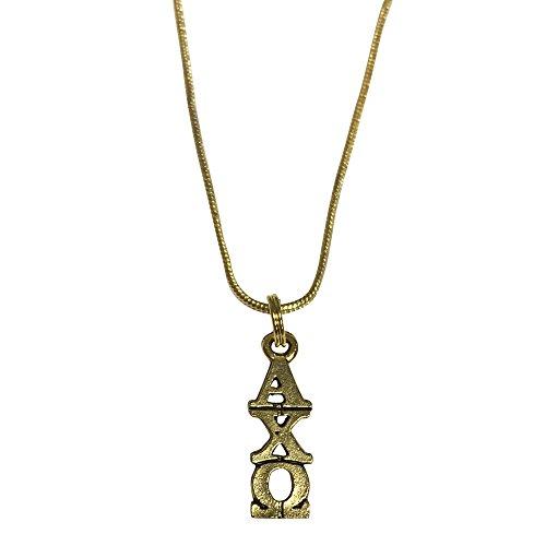 Alpha Chi Omega Gold Color Sorority Standard Lavalier Necklace - California Shades Honolulu Of