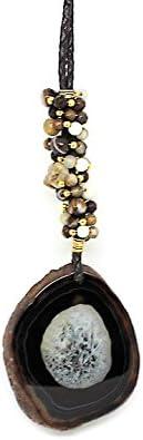 Kokomorocco Colgante ágata de Color marrón con Cuero Trenzado y Abalorios bañados en Oro 18 k, Collar Largo Mujer Regalos Originales