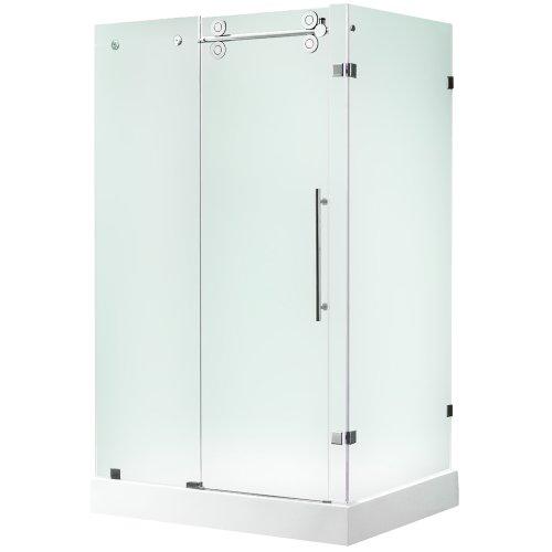 "UPC 813775017667, VIGO VG6051STMT48WL 36 x 48 Frameless 3/8"" Frosted/Stainless Steel Shower Enclosure with Left Base"