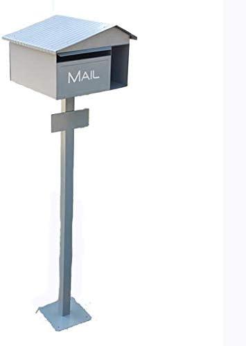 CXMYX スタンド付きMailポストブラックガーデンメールボックスロック可能な防水メールボックスのメールボックスのアルミ 4YX02