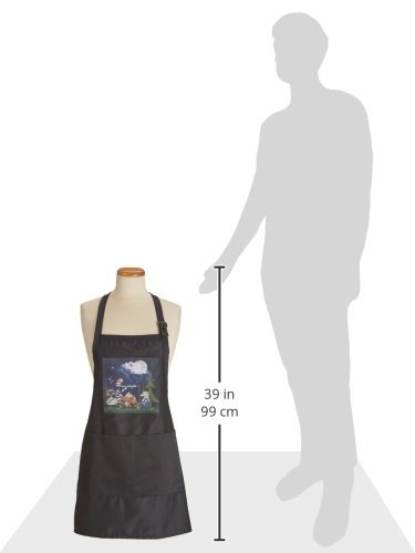 3dRose apr/_101839/_4 Raccoon 22 by 30-Inch Squirrel and Opossum Camping with a Campfire and Marshmallows-Full Length Apron with Pockets Black