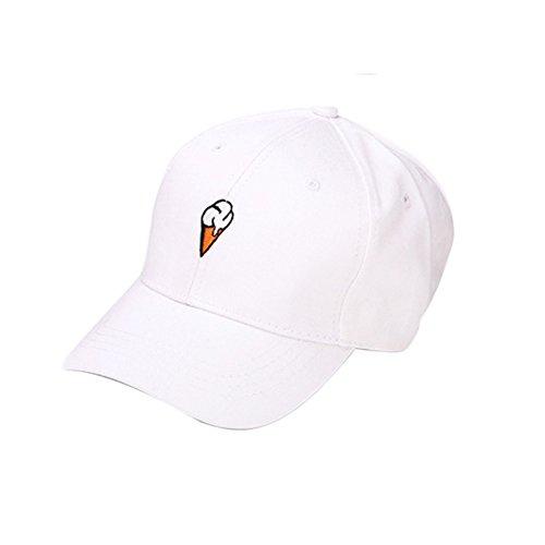 HTDBKDBK Men Women Peaked Hat Hip-Hop Curved Strapback Snapback Baseball Cap Adjustable White -