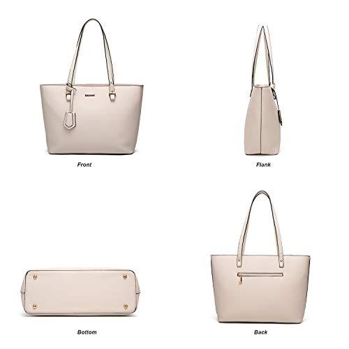 Tote Shoulder 4pcs Women Top Handbags Bag Satchel Fashion Set ELIMPAUL Handle Beige Bag Purse Xt7qwwC