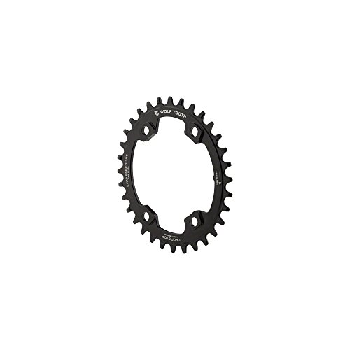 Oval Component - Wolf Tooth Components Drop-Stop Elliptical Chainring: 32T x 96 Asymmetrical BCD, For Shimano XT M8000 Cranks, Black