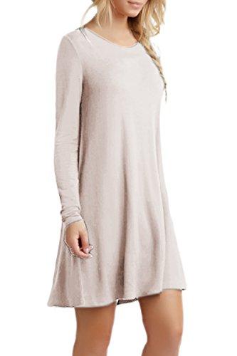 Femme Manches Robe XS 14 XXXXL Robe Shirt T Tunique YMING Style Longues Casual Mini Tops Couleur Basique Kaki SqddwZxfn