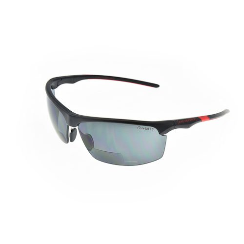 Optx 20/20 Eyedefend Outrigger Safety Reader with bifocal, Black Frame with smoke lens, +200, ANSI - Optx Sunglasses