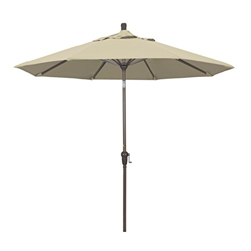 California Umbrella 9' Round Aluminum Market Umbrella, Crank Lift, Auto Tilt, Champagne Pole, Sunbrella Antique Beige