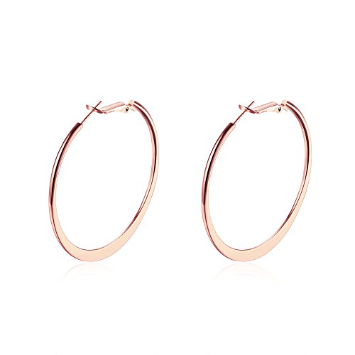 (Womens Hoop Earrings,Silver Hoops Earrings for Women,18K Gold Polished Big Round Circle Earrings Fashion Jewelry Ladies Large Earrings Hoops (Hoop Earring-Rose Gold))