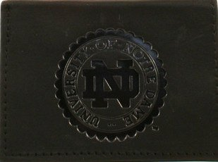 Rico NCAA Notre Dame Fighting Irish Tri-Fold Leather Wallet, Black