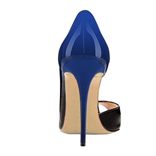 Shoes High Toe Heels patent Ladies Cutting amp;black Stilettos Patent Women's Blue Pumps Peep VOCOSI Dress 0wqtEIx