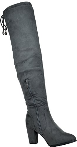 Dream Pairs Women's Highleg Grey Suede Over The Knee Thigh High Winter Heel Boots - 9 M US