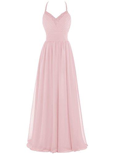 Bbonlinedress Vestido Gala De Fiesta Noche Halter Con Tirantes Finos Escote Corazón Rosa