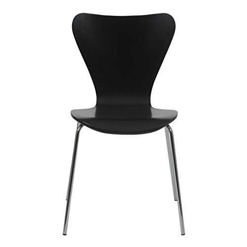 Euro Style Tendy Wood Stackable Side Dining Chair with Chromed Steel Base, Set of 4, Black Finish ()