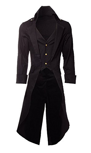 Very Last Shop Mens Gothic Tailcoat Jacket Black Steampunk Victorian Long Coat Halloween Costume