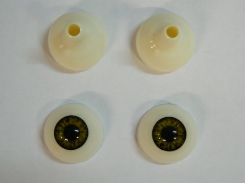 Pair of Realistic Human/Zombie Acrylic Eyes for Halloween PROPS, MASKS, DOLLS (Infected Green 26mm)