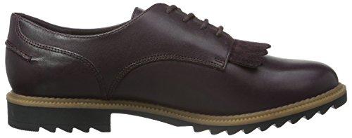Clarks Griffin Mabel, Zapatos de Cordones Derby para Mujer Morado (Aubergine Leather)