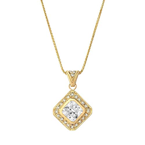 (TousiAttar Diamond Pendant - 0.08 ct Real White Diamond Accents + CZ Center Stone -14k Yellow Gold Necklace - Affordable Gift Jewelry)