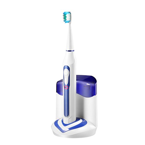 Wireless Rechargeable Toothbrush ,Electric Sonic Acoustic Toothbrush with Five Operating Modes ,with 2 Replaceable Brush Heads UV Box for Charging, Potable Carrying (Purple)