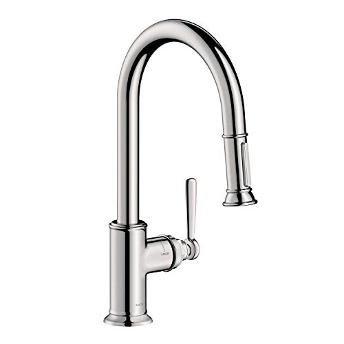 Montreux Swivel - AXOR Montreux Luxury 1-Handle 16-inch Tall Kitchen Faucet with Pull Down Sprayer Magnetic Docking Spray Head in Polished Nickel, 16581831