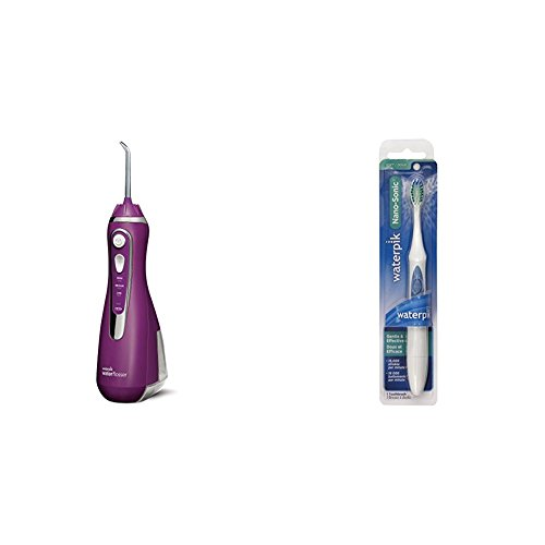 Waterpik Cordless Advanced Water Flosser, Radiant Orchid + Nano Sonic Toothbrush