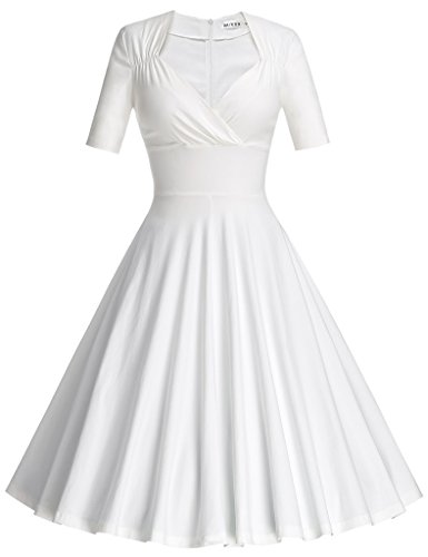 MUXXN Womens Vintage 50s Short Sleeve A Line Casual Party Wiggle Dress (White S)