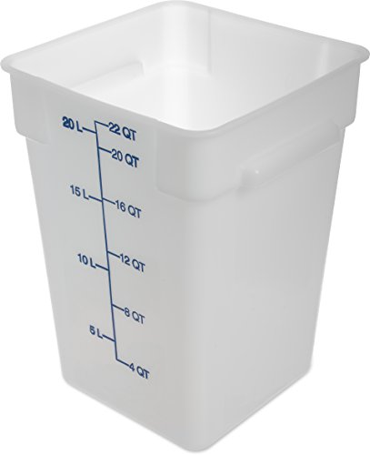 Polyethylene Food Box - Carlisle 1073602 StorPlus Square Food Storage Box, Container Only, 22 Quart, White