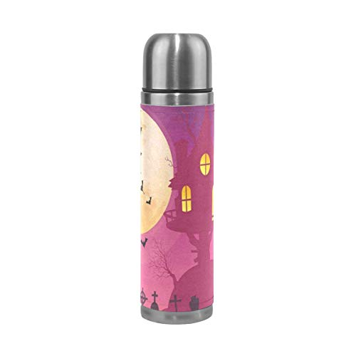 Thermos Halloween Moon Party Cycling Insulated Stainless Steel Water Bottle Leak Proof Thermos Leather Cover 17 -