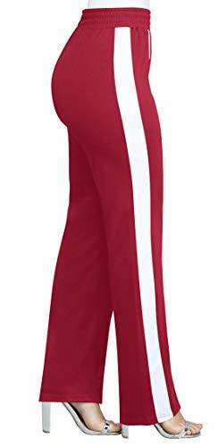 Lungo Casual Trousers Righe Pantaloni Monika Cucitura Pants Rosso Donna Moda Sottile Vino xqC7w0176