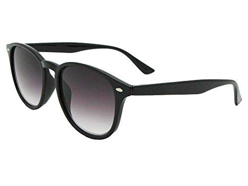 Semi Full Lens - Semi Round Vintage Full Reading Lens Sunglasses (Black Frame Gray Lenses, 1.50)
