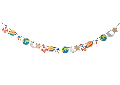 Ship Rocket Trip - Trip to The Moon - Garland | Birthday, Baby Shower Decorations | Outer Space Party | Boys Room Decor | Space, Rocket, Planets, Stars | Space Party Bunting
