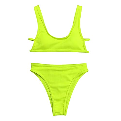26' Navy Sport Necklace - ParadiseB Fashion Women Sexy Summer Green Pure Color Swimsuit Push-Up Bikini Set Beachwear (L, Green)