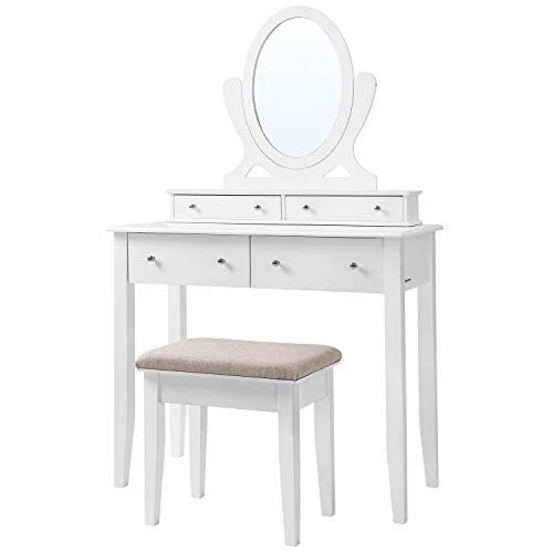 SONGMICS Vanity Table Set with Mirror and 4 Drawers, Wooden Makeup Dressing Table with Large Stool, Gift for Women Girls, White URDT22WT