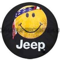 2012-2012 Jeep Wrangler Spare Tire Cover - Cloth - Smiley Face w/bandana, Jeep logo