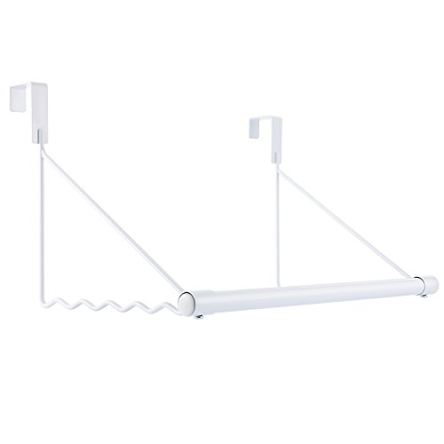 Magicfly Over The Door Closet Rod, Heavy-Duty Over The Door Hanger Rack with Hanging Bar for Coat, Towels Holder, Freshly Ironed Clothes, White (Coat Rod)